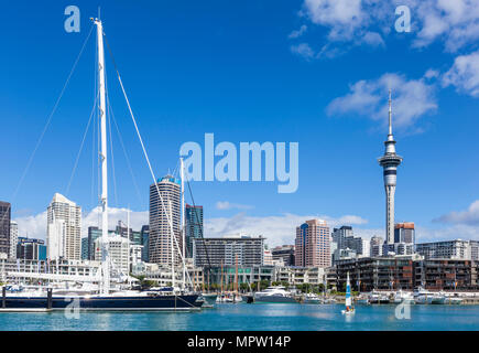 new zealand auckland new zealand north island auckland sky tower behind viaduct harbour area Auckland new zealand north island waterfront area nz - Stock Photo