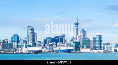new zealand auckland new zealand north island auckland skyline Waitemata Harbour panorama of cbd sky tower and wharf area of the waterfront - Stock Photo