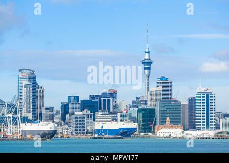 new zealand auckland new zealand north island auckland skyline Waitemata Harbour cbd sky tower and wharf area of the waterfront auckland nz - Stock Photo