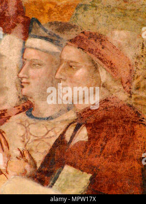 Portrait of Dante Alighieri (From: Fresco of Paradise), 14th century. - Stock Photo