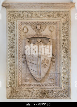 Duchy of Urbino and Montefeltro Family coat of arms in the Ducal Palace of Urbino, city and World Heritage Site in the Marche region of Italy. - Stock Photo