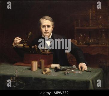 Portrait of Thomas Alva Edison (1847-1931), 1890. - Stock Photo