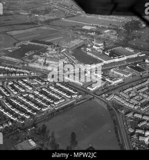 Gillette factory and Firestone tyre factory on the Great West Road, Brentford, London, 1963. Artist: Aerofilms. - Stock Photo