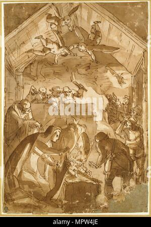 The Nativity, mid 16th century. Artist: Luca Cambiaso. - Stock Photo