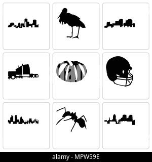 Set Of 9 simple editable icons such as ant, london, football helmet, pumpkin, semi truck, louisiana, stork, can be used for mobile, web - Stock Photo