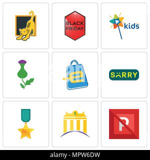 Set Of 9 simple editable icons such as no parking, banque, 100% satisfaction, sorry, eshop, thistle, kids channel, black friday, lion cub, can be used - Stock Photo