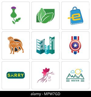 Set Of 9 simple editable icons such as moutain, parlour, sorry, captain america, construction, rottweiler, eshop, stevia, thistle, can be used for mob - Stock Photo