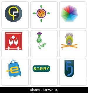 Set Of 9 simple editable icons such as jf, sorry, eshop, krishna, thistle, fragile handle with care, heptagon, passion fruit, qf, can be used for mobi - Stock Photo