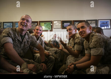 ROYAL AUSTRALIAN AIR FORCE BASE, Darwin – U.S. Marines with 3rd Battalion, 4th Marine Regiment, Marine Rotational Force Darwin 17.2 (MRF-D), share their excitement to be in Australia, April 18, 2017. More than 200 Marines arrived as part of the first wave of MRF-D personnel. A total of 1250 Marines are expected take part in this year's rotation.  (U.S. Marine Corps photo by Sgt. Emmanuel Ramos)