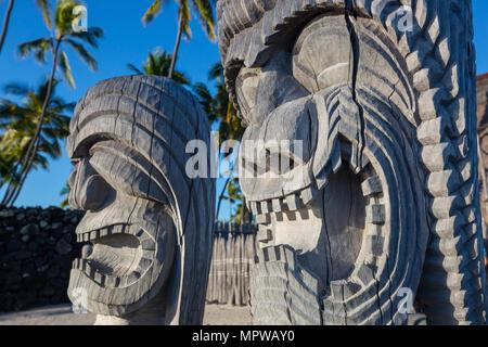 Wooden  Tiki in Ki'i in Pu'uhonua O Honaunau National Historical Park, Big Island, Hawaii - Stock Photo