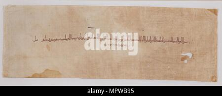 Textile fragment with tiraz band in kufic script, 900-901. Artist: Unknown. - Stock Photo