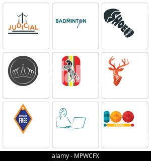 Set Of 9 simple editable icons such as 100 year, secretary, stag head, horse, tiara, shoe print, badminton, judicial, can be used for mobile, web - Stock Photo