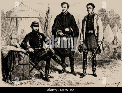 Emperor Pedro II of Brazil with his two sons-in-law, August of Saxe-Coburg and Gotha and Gaston of O - Stock Photo