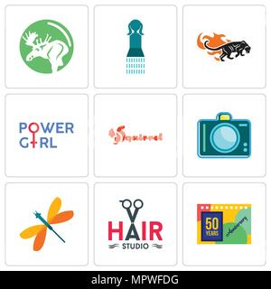 Set Of 9 simple editable icons such as 50 years anniversary, hair studio, dragonfly, dslr, squirrel, girl power, black panthers, girls bathroom, moose - Stock Photo