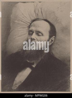 Fyodor Dostoyevsky on the deathbed, 1881. - Stock Photo