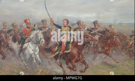 General Lasalle (1775-1809) in the Battle of Wagram, 1906. - Stock Photo