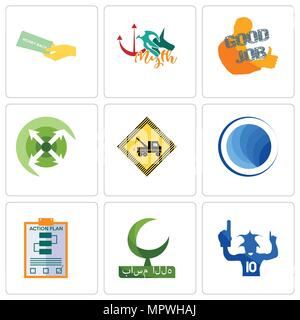 Set Of 9 simple editable icons such as sports fan, bismillah, action plan, globe, towing, extend, good job, myth, money back guarantee, can be used fo - Stock Photo