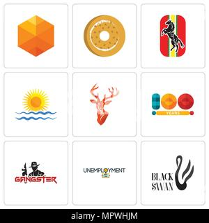 Set Of 9 simple editable icons such as black swan, unemployment, gangster, 100 year, stag head, rising sun, horse, bagel, cubic, can be used for mobil - Stock Photo