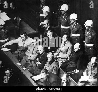 Defendants in the dock at the Nuremberg trials, 1945. - Stock Photo