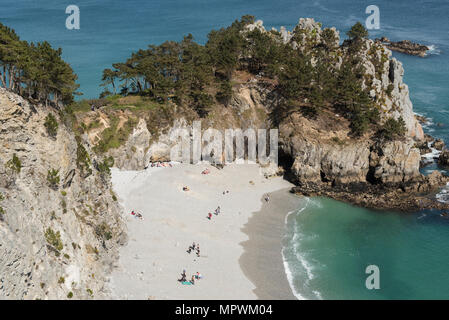 Plage de l'ile Vierge beach, Pointe de Saint-Hernot, Crozon peninsula, Finistère, Brittany, France. - Stock Photo