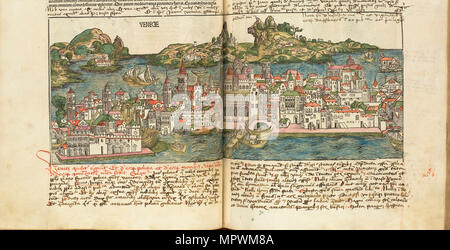 View of Venice. From: Liber chronicarum by Hartmann Schedel, 1493. - Stock Photo