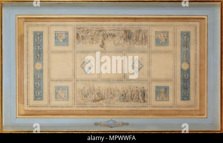 Study for the Painted ceiling of the library in the Conservatory, 1812. - Stock Photo