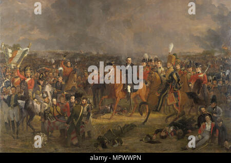 The Battle of Waterloo, 1824. - Stock Photo