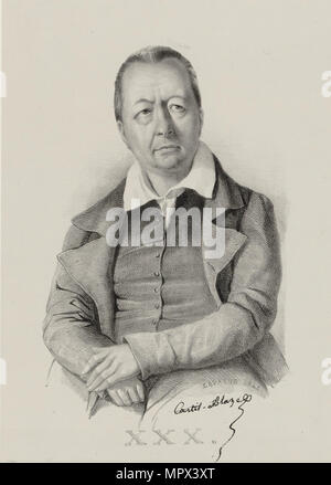 Portrait of the composer François Henri Joseph Castil-Blaze (1784-1857), 1841. - Stock Photo