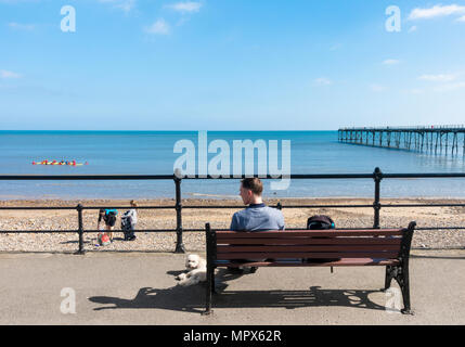 View over beach and Victorian pier at Saltburn by the sea, North Yorkshire, England, UK - Stock Photo