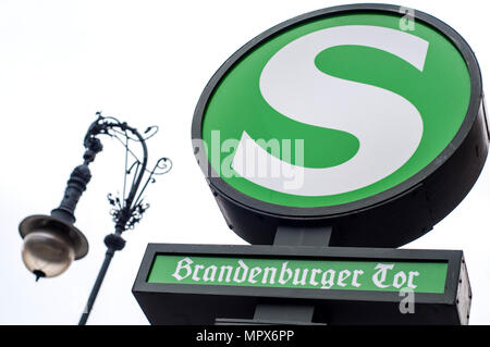 Station at Brandenburg Gate on the S-Bahn rapid transit railway system in Berlin, Germany - Stock Photo