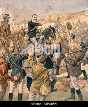 The War in the Transvaal:  General Joubert rallying the Boers, from Petit Journal, pub.  January 190 - Stock Photo