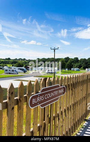 Burrs Country Park station on the East Lancashire Railwa, a new railway station built to serve the Burrs Country Park and caravan club site. - Stock Photo