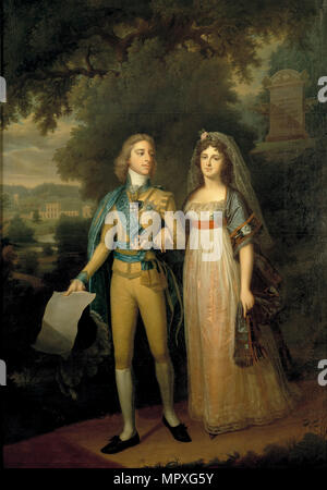 Portrait of Gustav IV Adolf of Sweden (1778-1837) and Frederica Dorothea Wilhelmina of Baden (1781-1 - Stock Photo