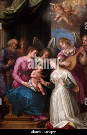 'The Mystic Marriage of St Catherine', 17th century. Artist: Unknown. - Stock Photo
