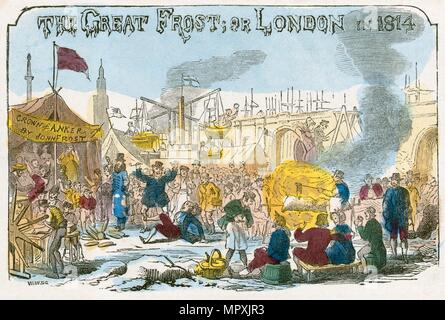'The Great Frost, or London in 1814', 1814 Artist: Unknown. - Stock Photo