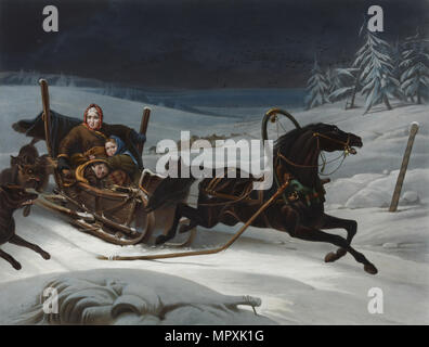 Sleigh of a Russian family pursued by wolves, 1830s. - Stock Photo