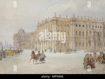 The ride of Emperor Nicholas I through the palace square, 1843. - Stock Photo