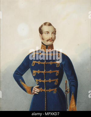 Portrait of the Crown prince Alexander Nikolayevich (1818-1881), 1850. - Stock Photo