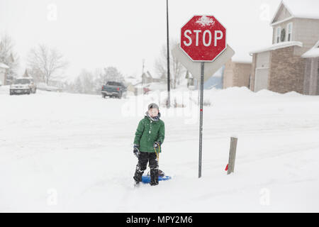 Full length of teenage boy with sled standing by stop sign on snow covered road during winter - Stock Photo
