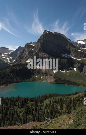 Scenic view of lake by mountains against blue sky at Glacier National Park - Stock Photo