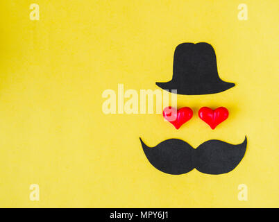 Father's Day background. Black hat, mustache and red heart ...