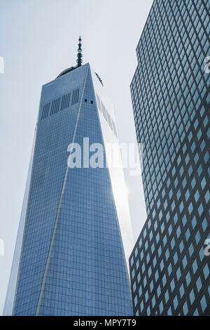 Low angle view of One World Trade Center against clear sky - Stock Photo