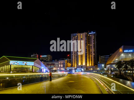 The Adelaide city skyline at night featuring the Torrens Riverbank precinct - Stock Photo
