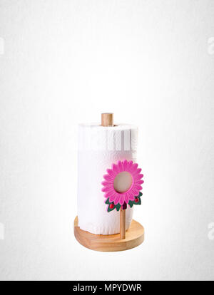 kitchen paper towel holder on white background - Stock Photo