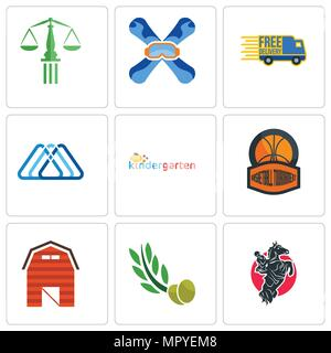 Set Of 9 simple editable icons such as equestrian, olive leaves, barn, basketball tournament, kindergarten, 3 triangle, free delivery, snowboard, scal - Stock Photo