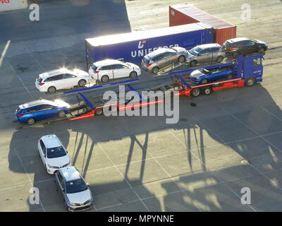 Toyota cars imported into Norway through Brevik ready for distribution throughout Norway - Stock Photo
