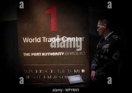 NEW YORK CITY, NY (April 22, 2017) - Sgt. 1st Class Joshua Moeller, the Army's non-commissioned officer of the year, visits and pays respects at the World Trade Center's memorial museum honoring the fallen from the September 11th attacks.    (U.S. Army Photo by Cpl. Timothy Yao) - Stock Photo