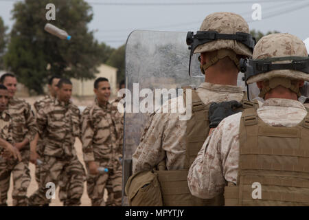 Soldiers From The Royal Moroccan Armed Forces Work In The Joint Logistics Operations Center During The Beginning Of Exercise African Lion 2019 At The Southern Zone Headquarters In Agadir Morocco March 25