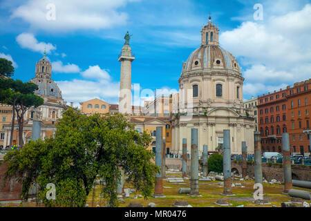 Columns of Trajan's Forum facing the Chiesa Del Santissimo Nome Di Maria Al Foro Traiano in Rome - Stock Photo