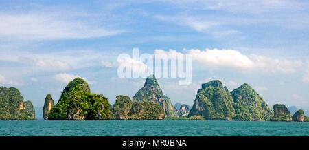 Panoramic view spectacular limestone karst landscape  Phang Nga Bay  National Park Thailand - Stock Photo